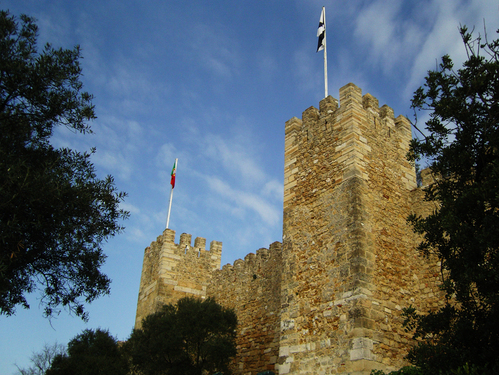 down in the valley, looking up at the castle...