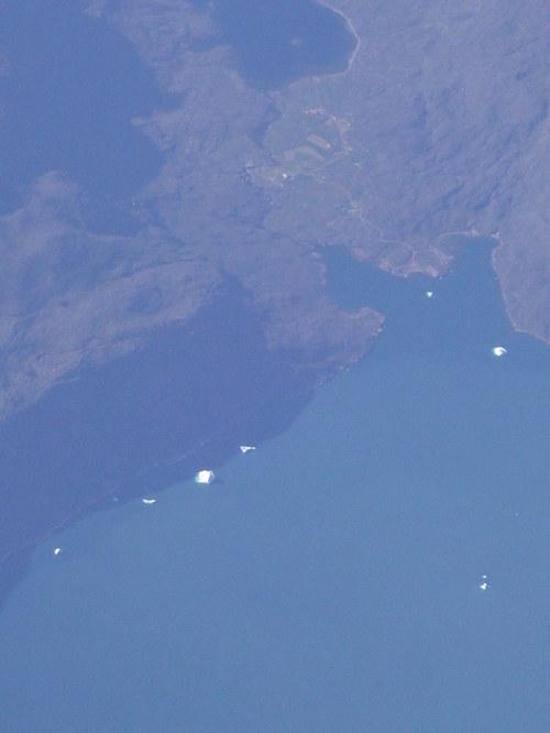 icebergs over Greenland